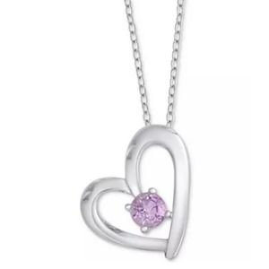 Sterling Silver Amethyst Floating Heart Necklace
